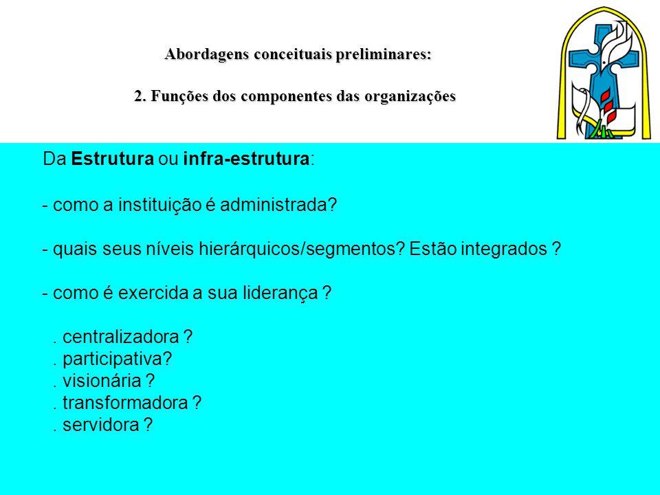 Abordagens conceituais preliminares: 2. Funções dos componentes das organizações Abordagens conceituais preliminares: 2. Funções dos componentes das o