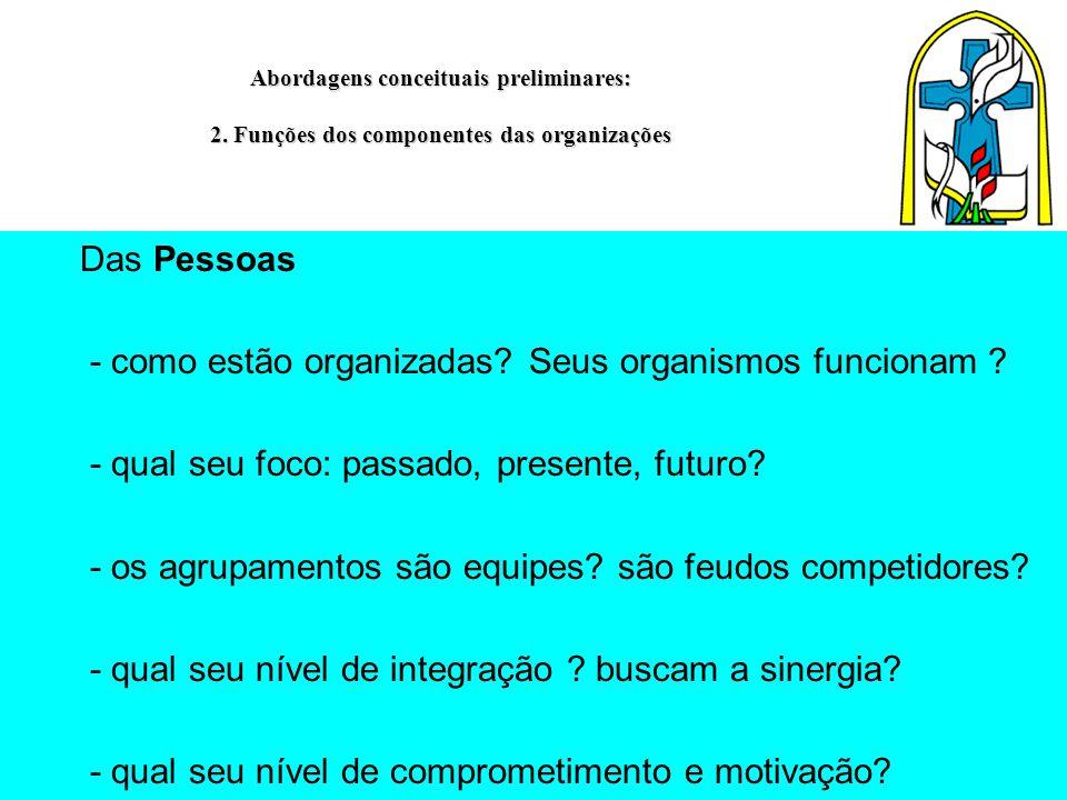 Abordagens conceituais preliminares: 2. Funções dos componentes das organizações Das Pessoas - como estão organizadas? Seus organismos funcionam ? - q