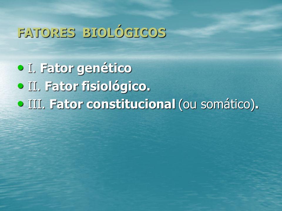 DETERMINANTES DA PERSONALIDADE Fatores: Fatores: 1. Fatores Biológicos. 2. Fatores Ambientais.