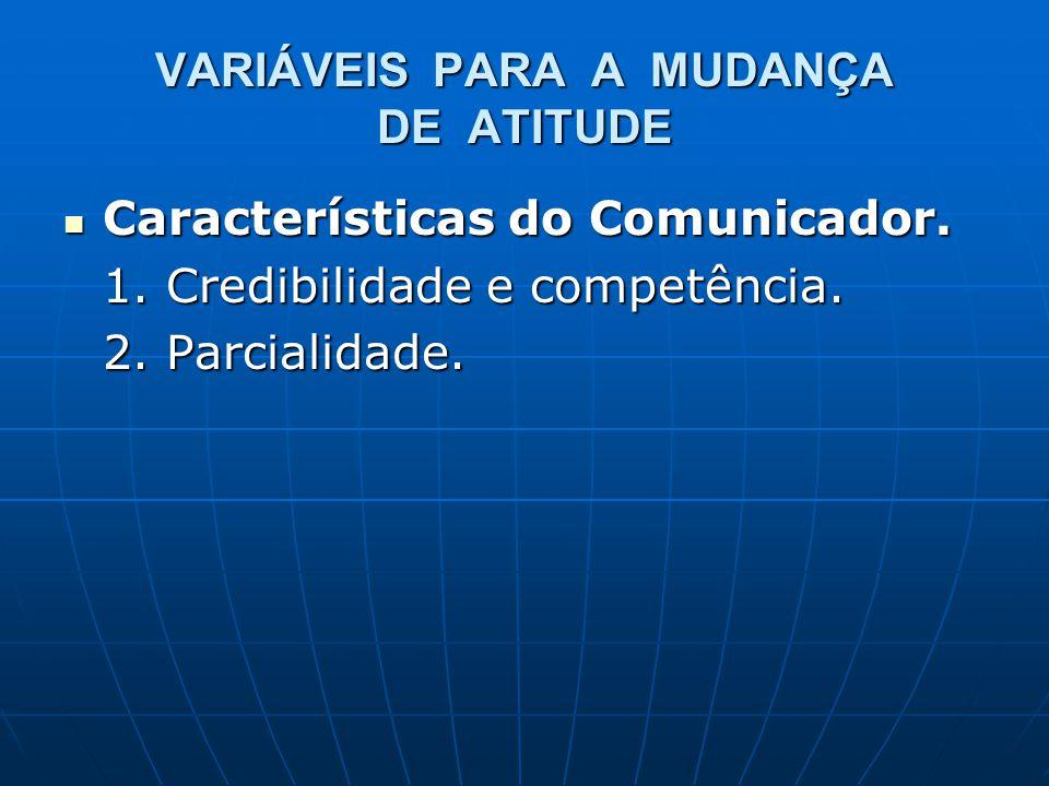 VARIÁVEIS PARA A MUDANÇA DE ATITUDE Características do Comunicador. Características do Comunicador. 1. Credibilidade e competência. 2. Parcialidade.