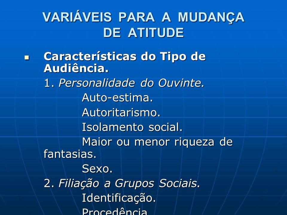 VARIÁVEIS PARA A MUDANÇA DE ATITUDE Características do Tipo de Audiência. Características do Tipo de Audiência. 1. Personalidade do Ouvinte. Auto-esti
