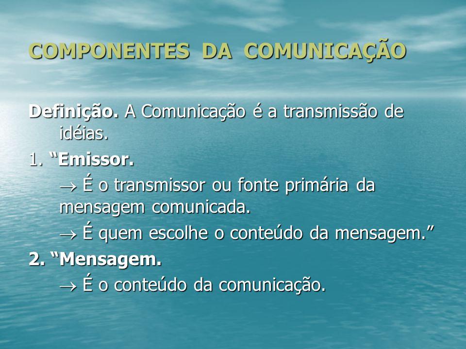 """COMPONENTES DA COMUNICAÇÃO Definição. A Comunicação é a transmissão de idéias. 1. """"Emissor.  É o transmissor ou fonte primária da mensagem comunicada"""