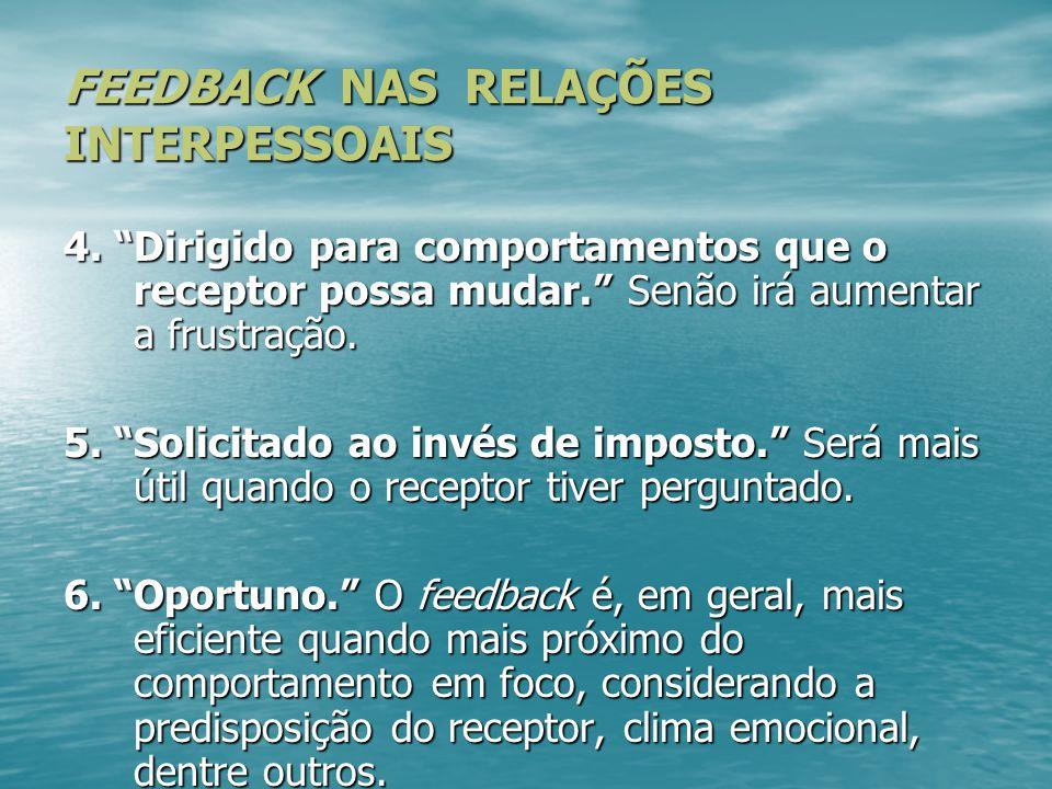 """FEEDBACK NAS RELAÇÕES INTERPESSOAIS 4. """"Dirigido para comportamentos que o receptor possa mudar."""" Senão irá aumentar a frustração. 5. """"Solicitado ao i"""