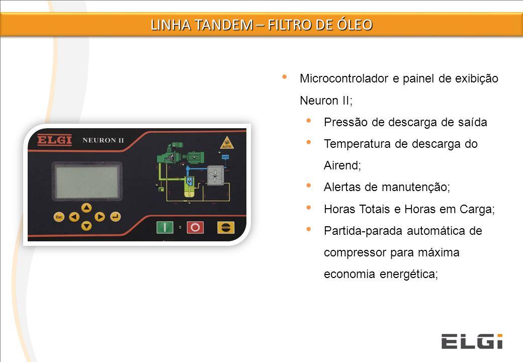 Microcontrolador e painel de exibição Neuron II; Pressão de descarga de saída Temperatura de descarga do Airend; Alertas de manutenção; Horas Totais e