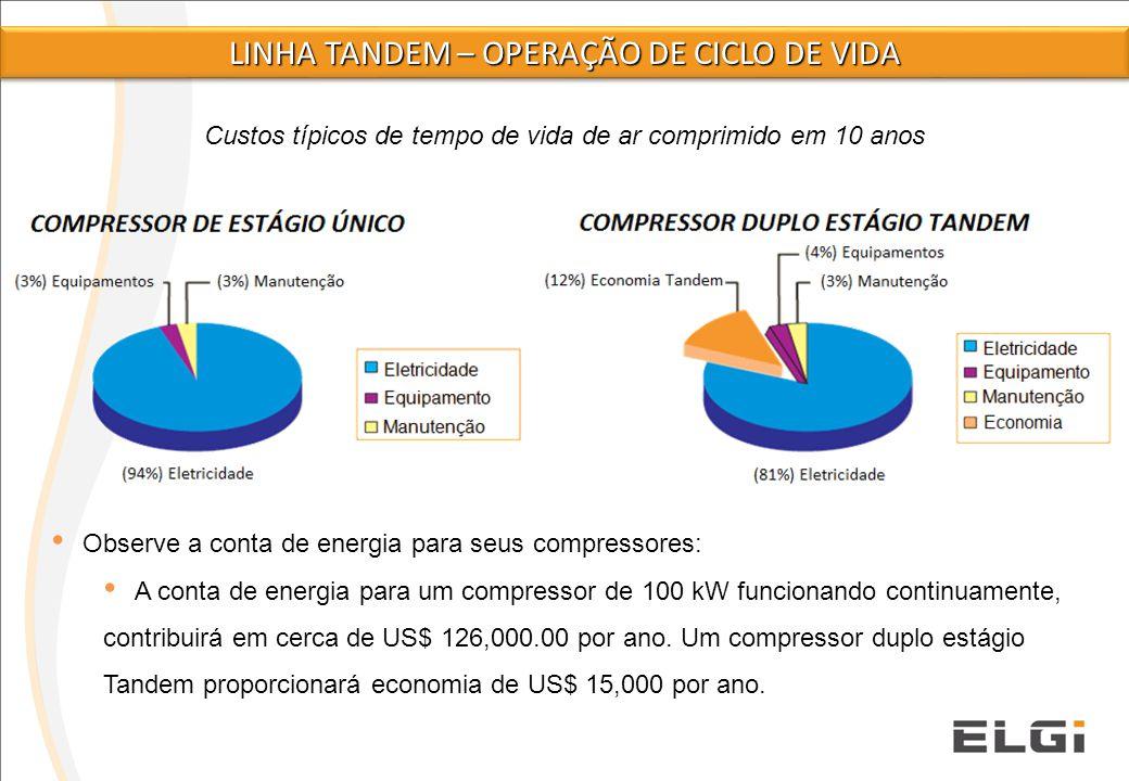 Custos típicos de tempo de vida de ar comprimido em 10 anos Observe a conta de energia para seus compressores: A conta de energia para um compressor d