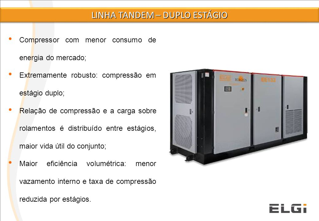 A compressão ocorre em dois estágios, câmara de compressão LP (1° Stg) e HP (2° Stg); O calor de compressão, as cargas dos mancais e a taxa de compressão são distribuídos em dois estágios; Eficiência volumétrica melhorada.