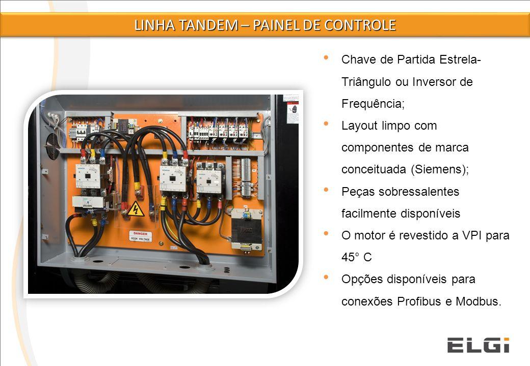 Chave de Partida Estrela- Triângulo ou Inversor de Frequência; Layout limpo com componentes de marca conceituada (Siemens); Peças sobressalentes facil