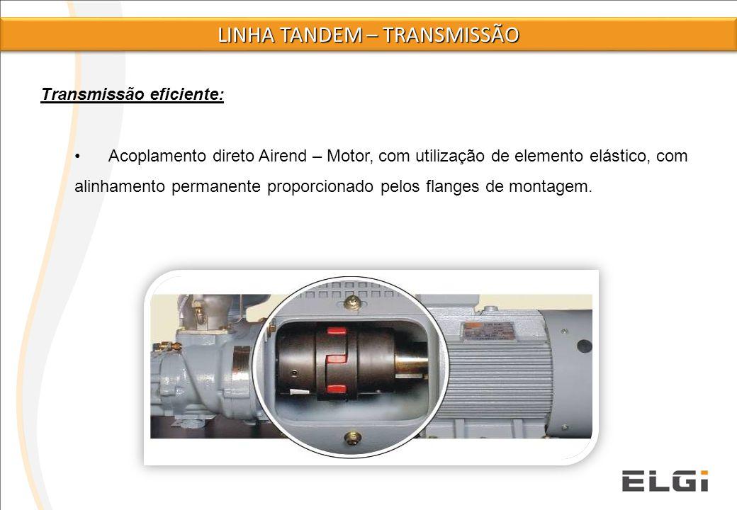 Transmissão eficiente: Acoplamento direto Airend – Motor, com utilização de elemento elástico, com alinhamento permanente proporcionado pelos flanges
