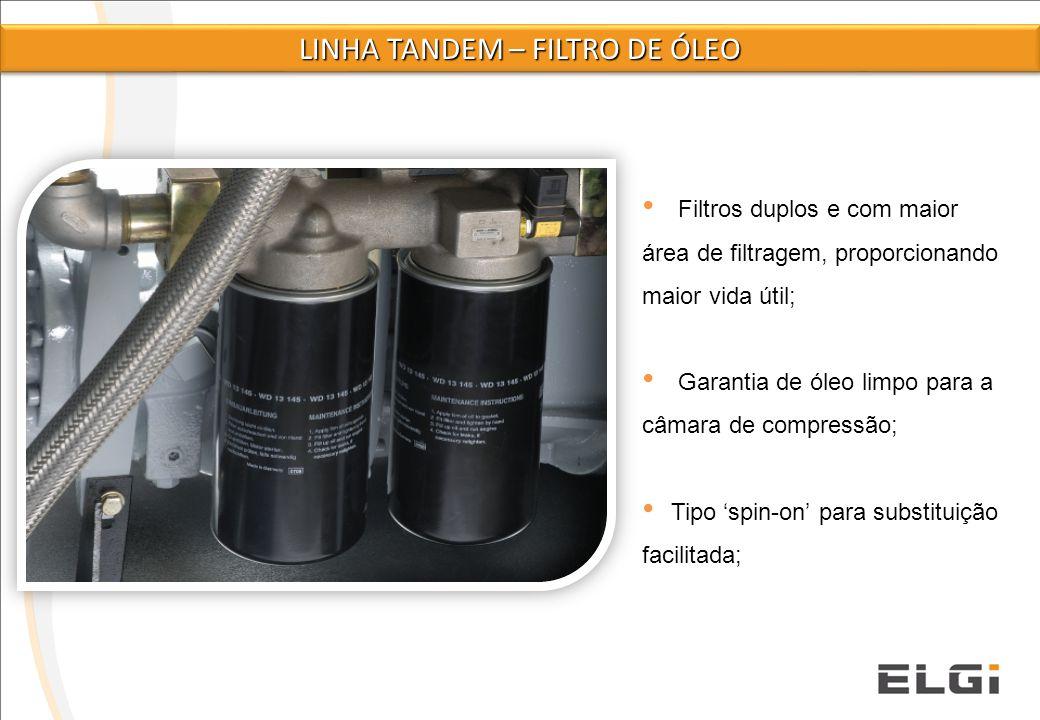 Filtros duplos e com maior área de filtragem, proporcionando maior vida útil; Garantia de óleo limpo para a câmara de compressão; Tipo 'spin-on' para