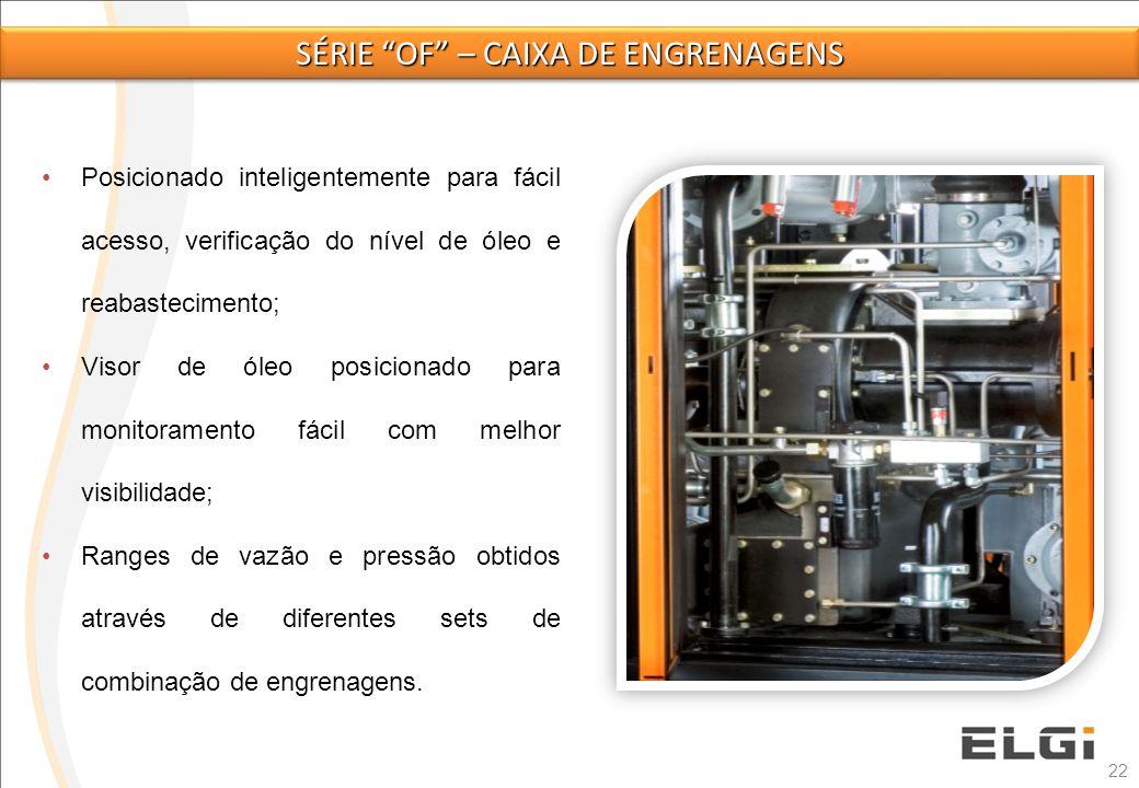 22 Posicionado inteligentemente para fácil acesso, verificação do nível de óleo e reabastecimento; Visor de óleo posicionado para monitoramento fácil