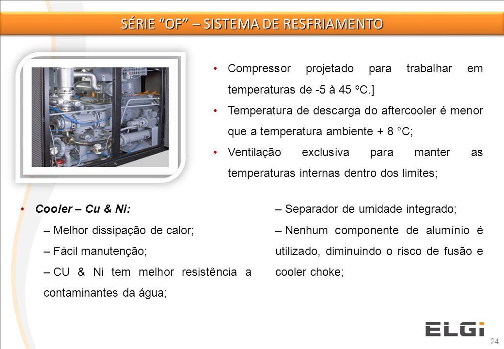 24 Compressor projetado para trabalhar em temperaturas de -5 à 45 ºC.] Temperatura de descarga do aftercooler é menor que a temperatura ambiente + 8 °