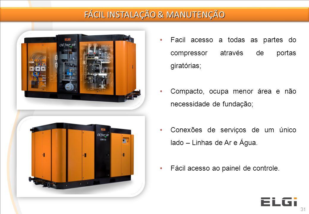 31 Facil acesso a todas as partes do compressor através de portas giratórias; Compacto, ocupa menor área e não necessidade de fundação; Conexões de se