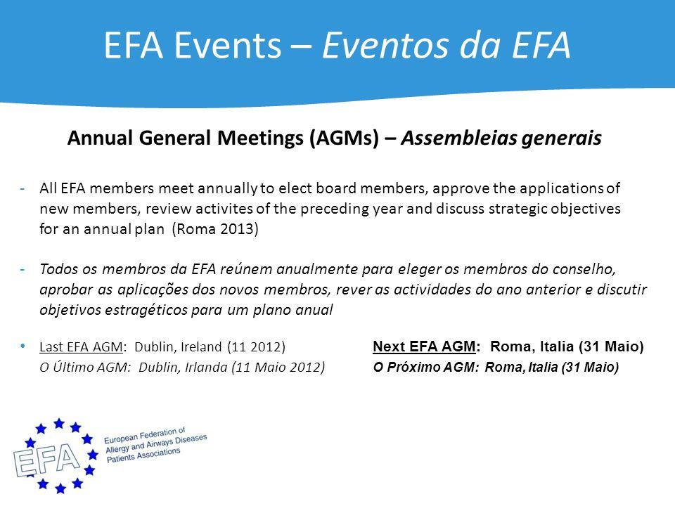 EFA Events – Eventos da EFA Annual General Meetings (AGMs) – Assembleias generais - All EFA members meet annually to elect board members, approve the