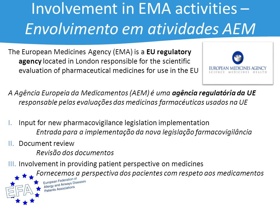 Involvement in EMA activities – Envolvimento em atividades AEM The European Medicines Agency (EMA) is a EU regulatory agency located in London responsible for the scientific evaluation of pharmaceutical medicines for use in the EU A Agência Europeia da Medicamentos (AEM) é uma agência regulatória da UE responsable pelas evaluações das medicinas farmacéuticas usados na UE I.Input for new pharmacovigilance legislation implementation Entrada para a implementação da nova legislação farmacovigilância II.Document review Revisão dos documentos III.Involvement in providing patient perspective on medicines Fornecemos a perspectiva dos pacientes com respeto aos medicamentos