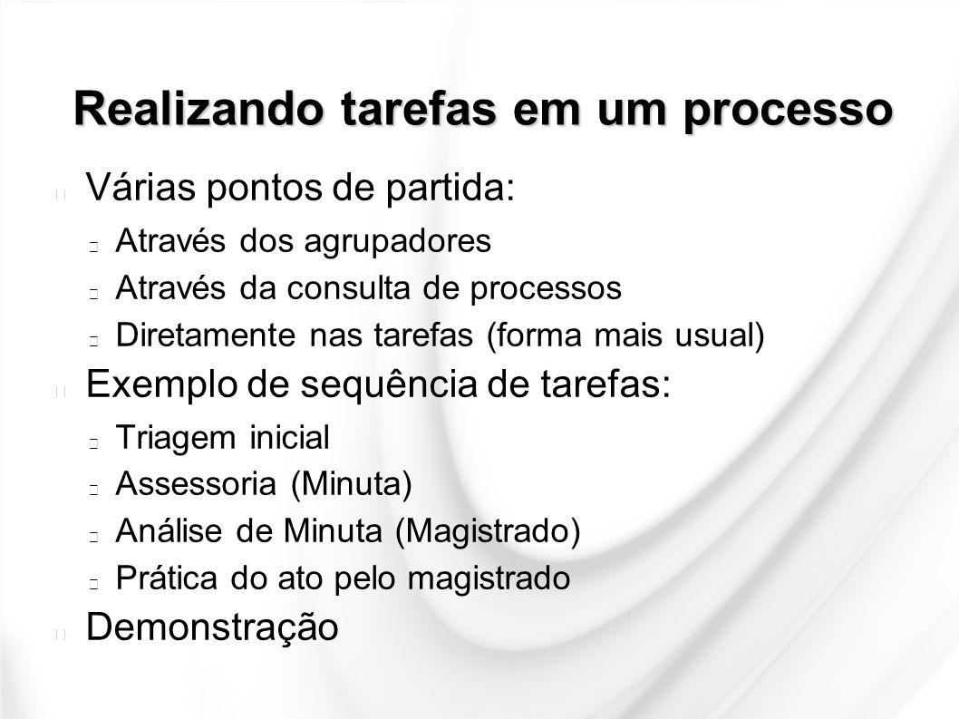 Realizando tarefas em um processo Várias pontos de partida: Através dos agrupadores Através da consulta de processos Diretamente nas tarefas (forma ma