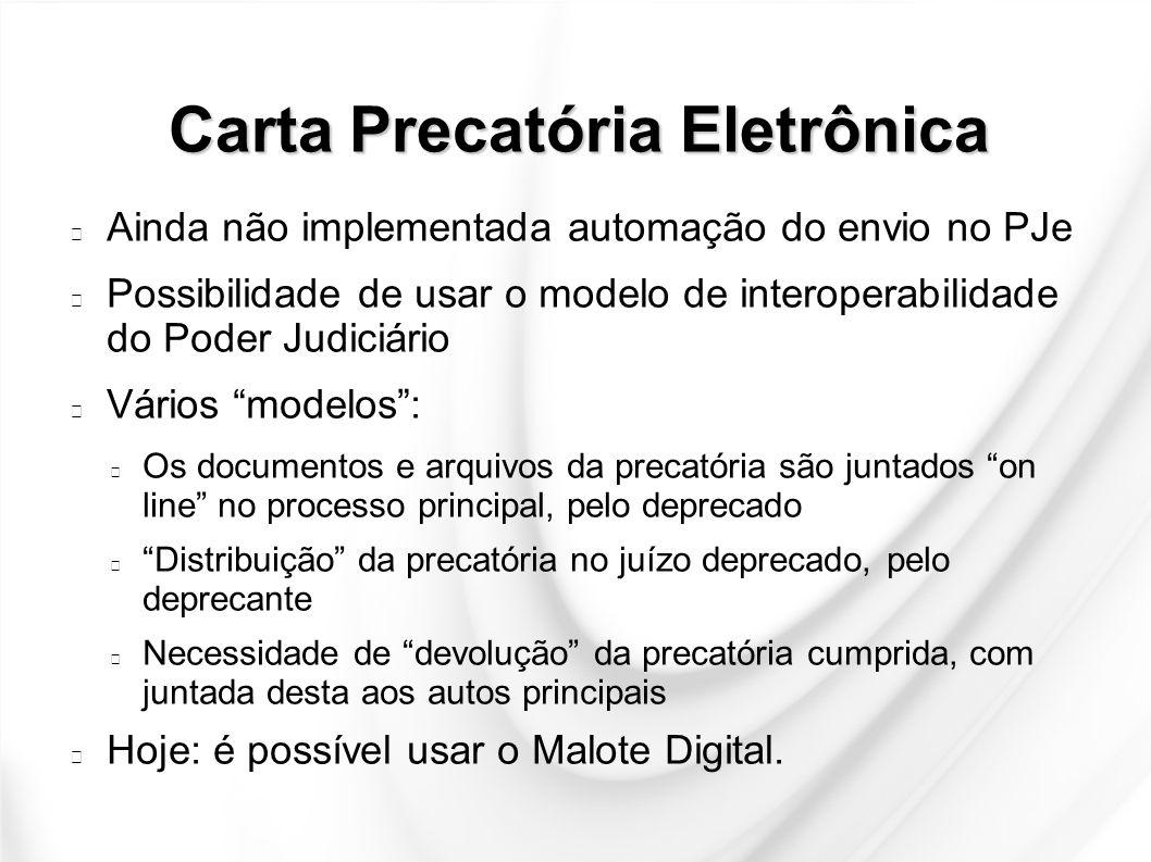 Carta Precatória Eletrônica Ainda não implementada automação do envio no PJe Possibilidade de usar o modelo de interoperabilidade do Poder Judiciário