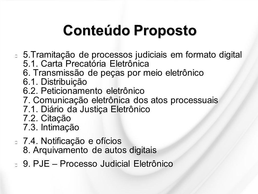 Conteúdo Proposto 5.Tramitação de processos judiciais em formato digital 5.1. Carta Precatória Eletrônica 6. Transmissão de peças por meio eletrônico