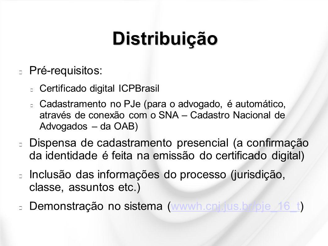 Distribuição Pré-requisitos: Certificado digital ICPBrasil Cadastramento no PJe (para o advogado, é automático, através de conexão com o SNA – Cadastr