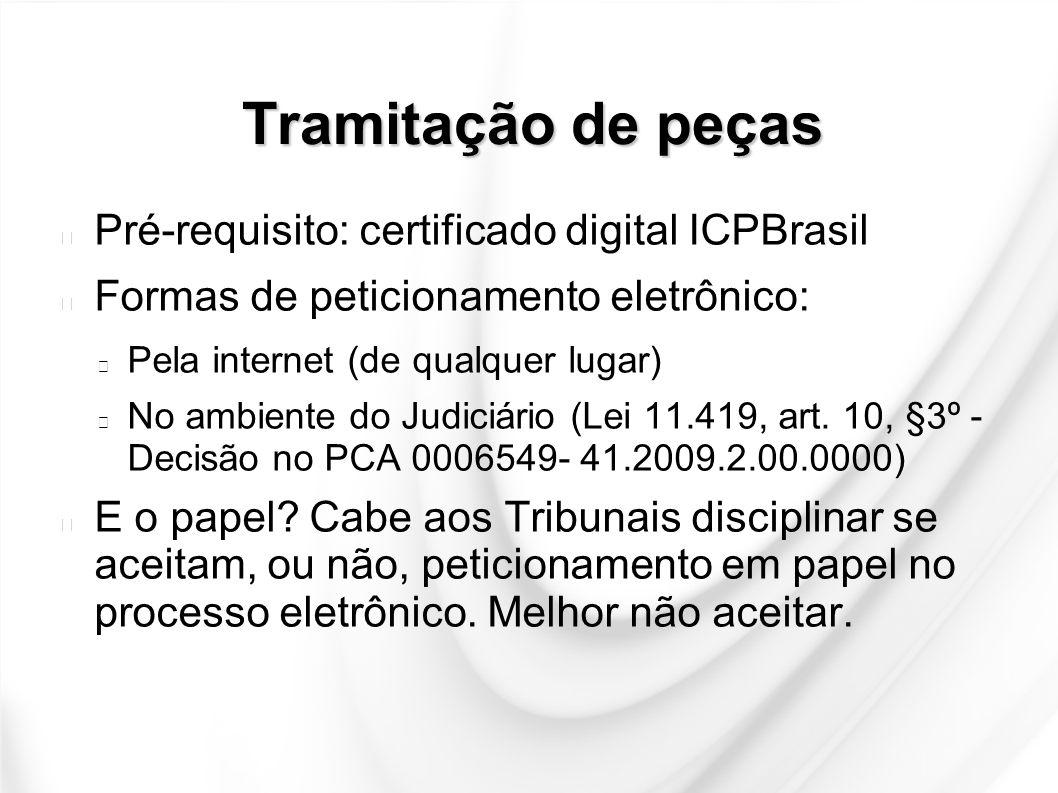 Tramitação de peças Pré-requisito: certificado digital ICPBrasil Formas de peticionamento eletrônico: Pela internet (de qualquer lugar) No ambiente do