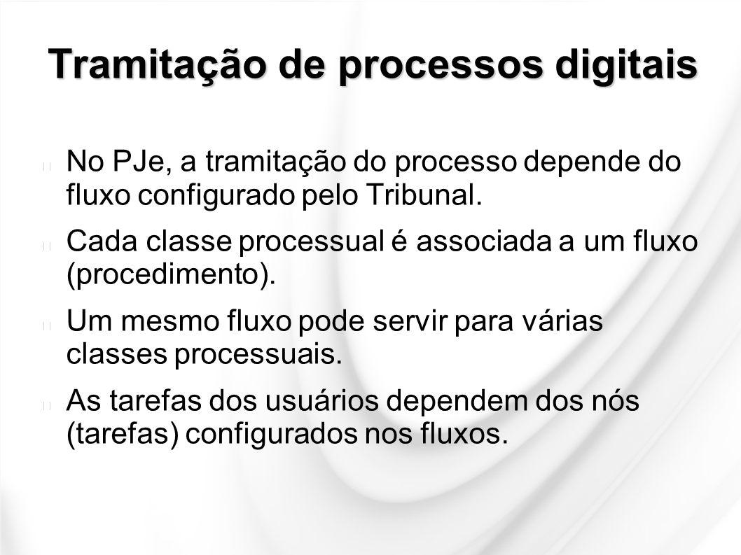 Tramitação de processos digitais No PJe, a tramitação do processo depende do fluxo configurado pelo Tribunal. Cada classe processual é associada a um
