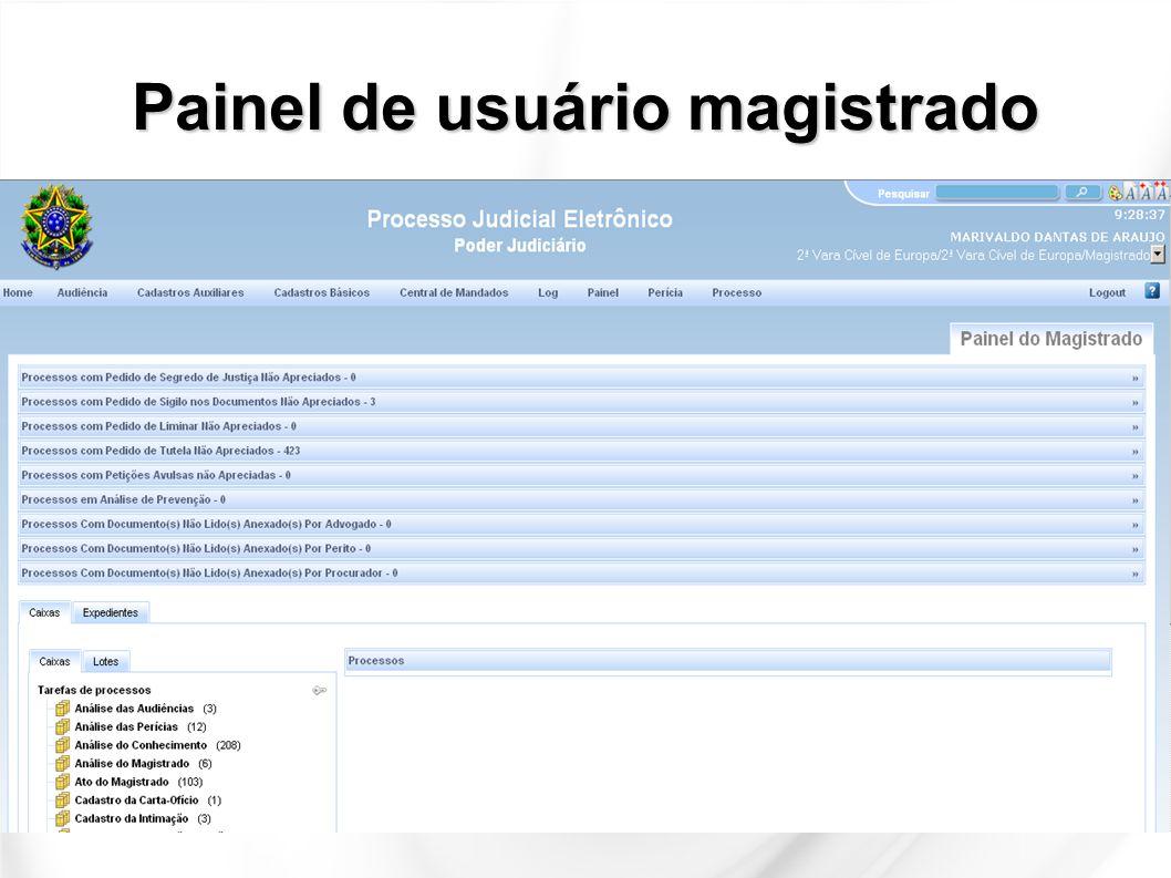 Áreas do Painel do Usuário Espaço de pesquisa, alteração de cor e adequação do tamanho da fonte Controle do perfil do usuário Barra do menu principal Agrupadores Tarefas de Processos (nós do fluxo) Caixas personalizadas por Vara/Gabinete (Localização) Tarefas de processos em segredo/sigilo