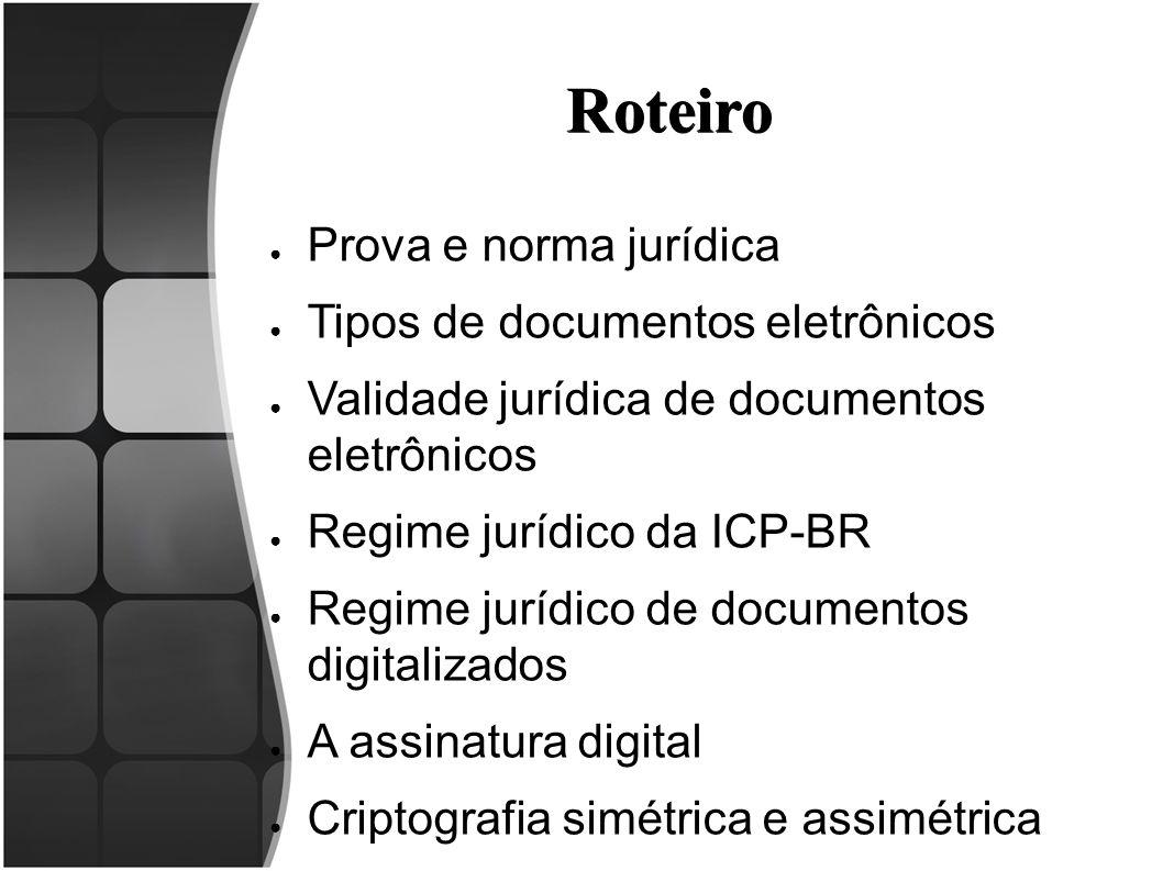 Roteiro ● Prova e norma jurídica ● Tipos de documentos eletrônicos ● Validade jurídica de documentos eletrônicos ● Regime jurídico da ICP-BR ● Regime