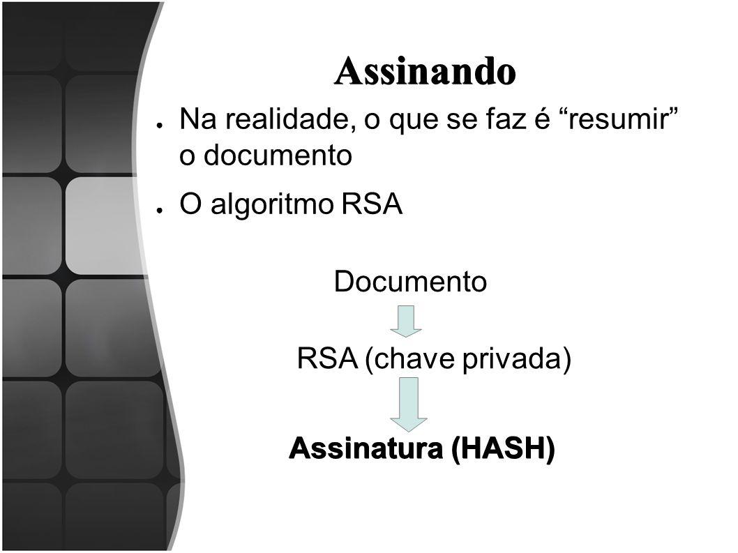 """Assinando ● Na realidade, o que se faz é """"resumir"""" o documento ● O algoritmo RSA Documento RSA (chave privada) Assinatura (HASH)"""