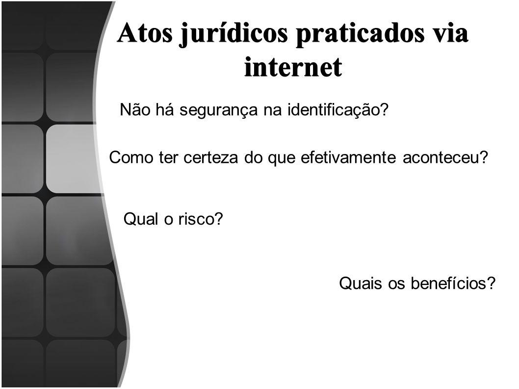 Atos jurídicos praticados via internet Não há segurança na identificação? Como ter certeza do que efetivamente aconteceu? Qual o risco? Quais os benef