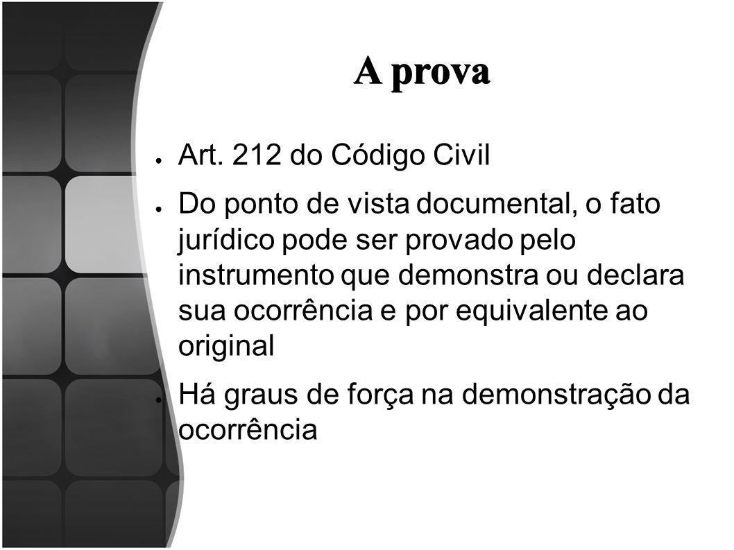 A prova ● Art. 212 do Código Civil ● Do ponto de vista documental, o fato jurídico pode ser provado pelo instrumento que demonstra ou declara sua ocor