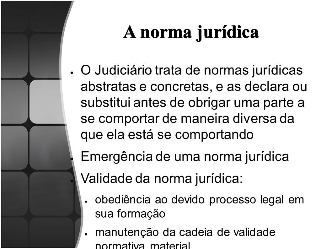 A norma jurídica ● O Judiciário trata de normas jurídicas abstratas e concretas, e as declara ou substitui antes de obrigar uma parte a se comportar d