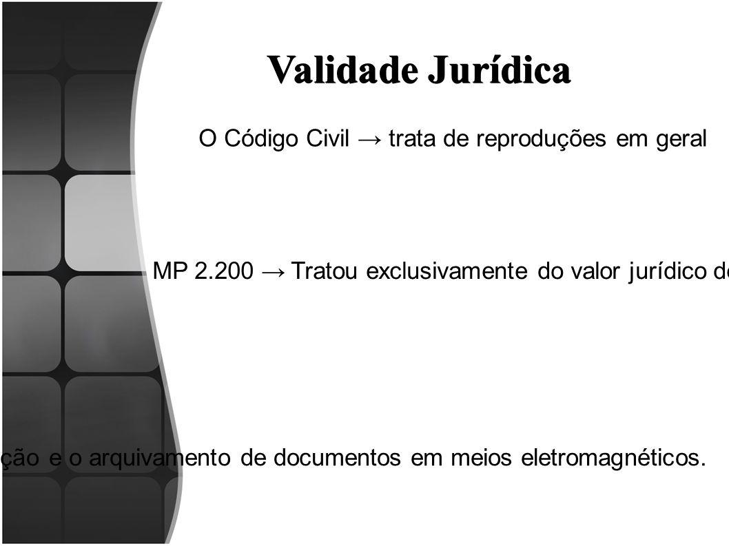 Validade Jurídica MP 2.200 → Tratou exclusivamente do valor jurídico de documentos eletrônicos Lei n.º 12.682/2012 →Dispõe sobre a elaboração e o arqu