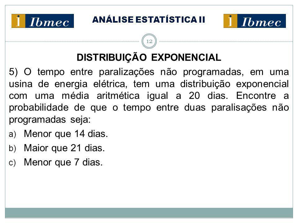 ANÁLISE ESTATÍSTICA II 12 DISTRIBUIÇÃO EXPONENCIAL 5) O tempo entre paralizações não programadas, em uma usina de energia elétrica, tem uma distribuiç
