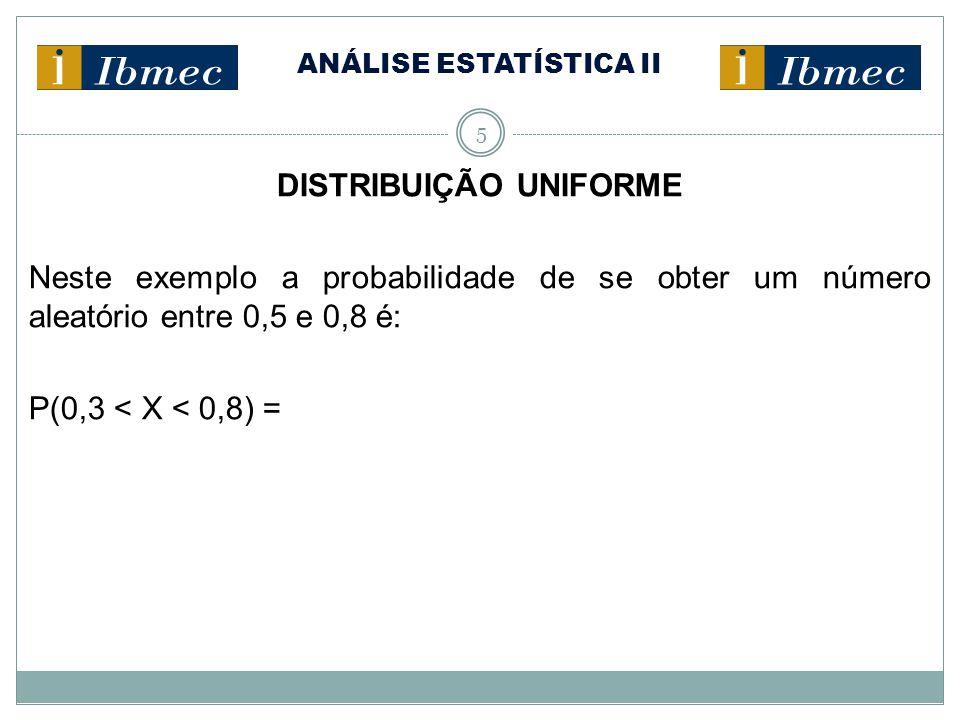 ANÁLISE ESTATÍSTICA II 5 DISTRIBUIÇÃO UNIFORME Neste exemplo a probabilidade de se obter um número aleatório entre 0,5 e 0,8 é: P(0,3 < X < 0,8) =