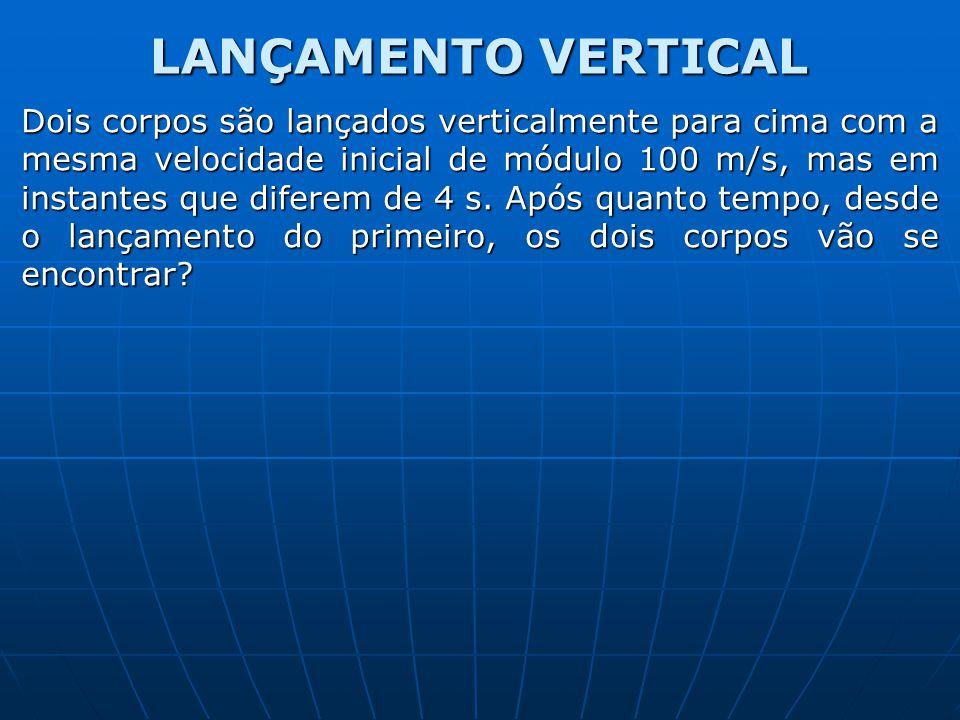 LANÇAMENTO VERTICAL Dois corpos são lançados verticalmente para cima com a mesma velocidade inicial de módulo 100 m/s, mas em instantes que diferem de