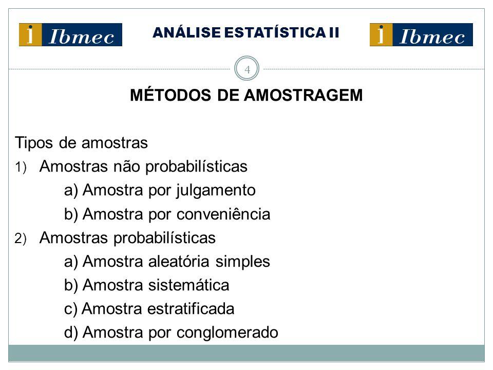 ANÁLISE ESTATÍSTICA II 4 MÉTODOS DE AMOSTRAGEM Tipos de amostras 1) Amostras não probabilísticas a) Amostra por julgamento b) Amostra por conveniência