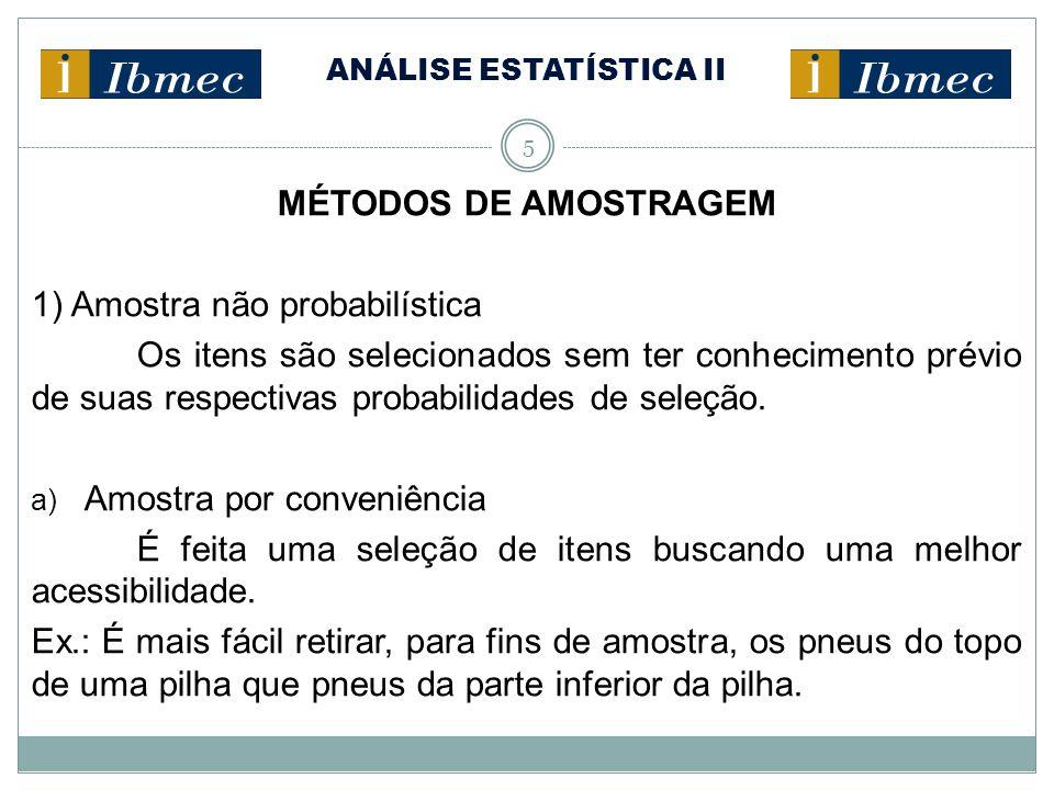 ANÁLISE ESTATÍSTICA II 5 MÉTODOS DE AMOSTRAGEM 1) Amostra não probabilística Os itens são selecionados sem ter conhecimento prévio de suas respectivas
