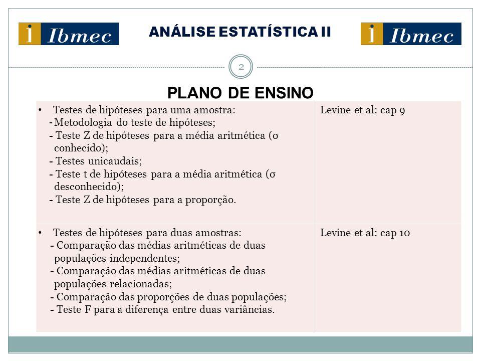 ANÁLISE ESTATÍSTICA II 3 PLANO DE ENSINO Análise de variância: - Modelo completamente aleatório (análise da variância de fator único); - Modelo fatorial (análise da variância de dois fatores).