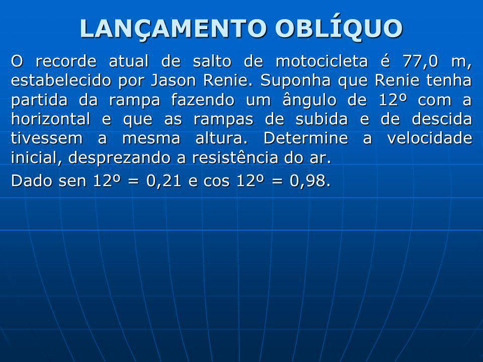 LANÇAMENTO OBLÍQUO O recorde atual de salto de motocicleta é 77,0 m, estabelecido por Jason Renie. Suponha que Renie tenha partida da rampa fazendo um