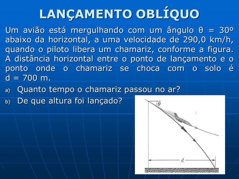 LANÇAMENTO OBLÍQUO Um avião está mergulhando com um ângulo θ = 30º abaixo da horizontal, a uma velocidade de 290,0 km/h, quando o piloto libera um cha