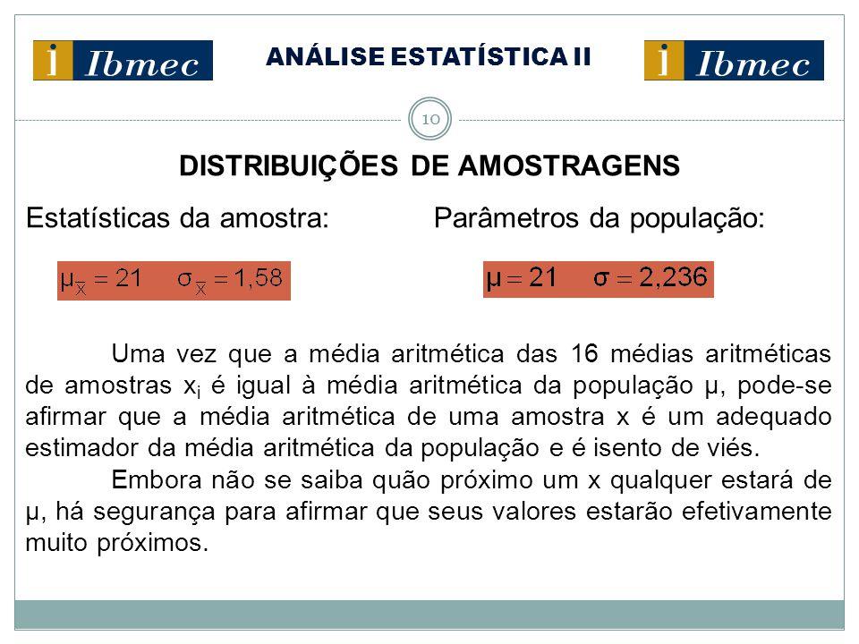 ANÁLISE ESTATÍSTICA II 10 DISTRIBUIÇÕES DE AMOSTRAGENS Estatísticas da amostra: Parâmetros da população: Uma vez que a média aritmética das 16 médias