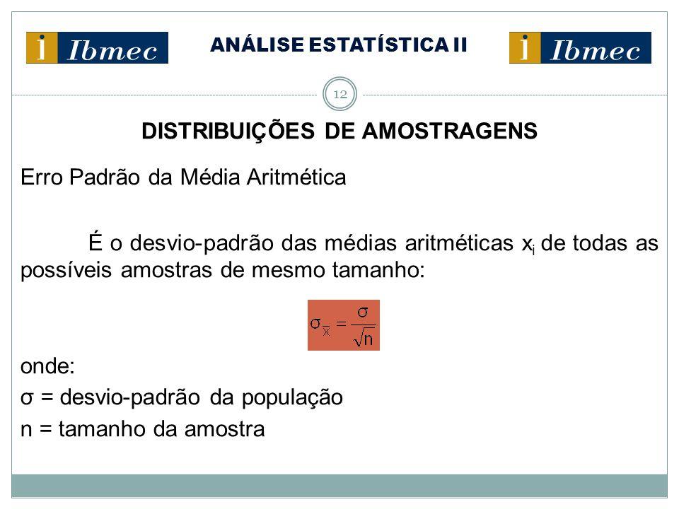 ANÁLISE ESTATÍSTICA II 12 DISTRIBUIÇÕES DE AMOSTRAGENS Erro Padrão da Média Aritmética É o desvio-padrão das médias aritméticas x i de todas as possív