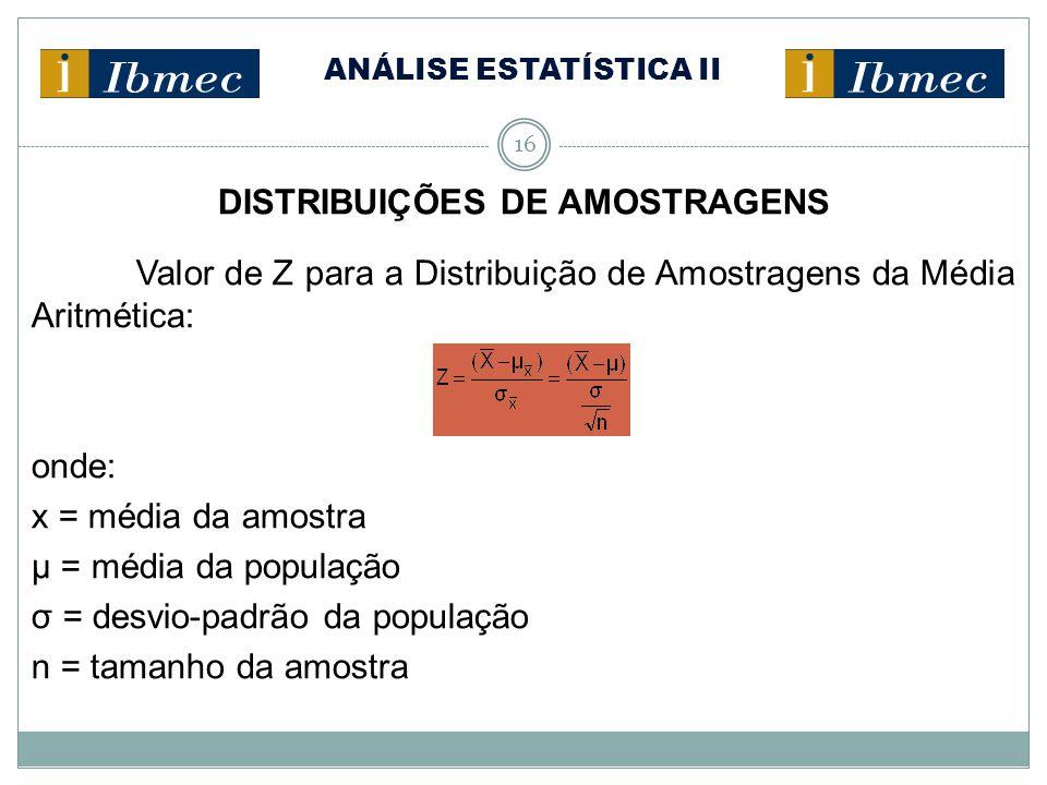 ANÁLISE ESTATÍSTICA II 16 DISTRIBUIÇÕES DE AMOSTRAGENS Valor de Z para a Distribuição de Amostragens da Média Aritmética: onde: x = média da amostra µ