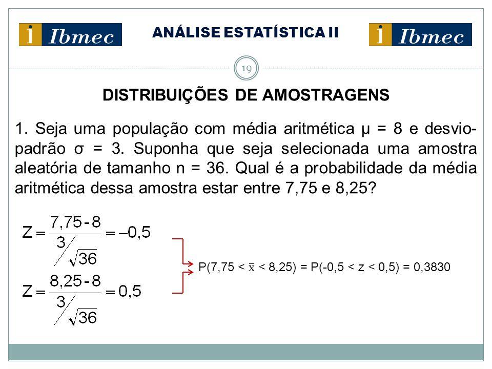 ANÁLISE ESTATÍSTICA II 19 DISTRIBUIÇÕES DE AMOSTRAGENS 1. Seja uma população com média aritmética μ = 8 e desvio- padrão σ = 3. Suponha que seja selec