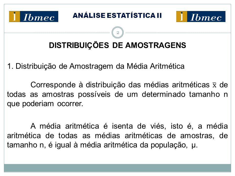 ANÁLISE ESTATÍSTICA II 13 DISTRIBUIÇÕES DE AMOSTRAGENS 1.