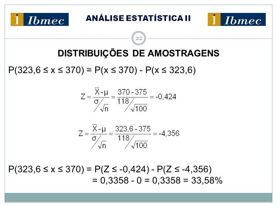 ANÁLISE ESTATÍSTICA II 22 DISTRIBUIÇÕES DE AMOSTRAGENS P(323,6 ≤ x ≤ 370) = P(x ≤ 370) - P(x ≤ 323,6) P(323,6 ≤ x ≤ 370) = P(Z ≤ -0,424) - P(Z ≤ -4,35