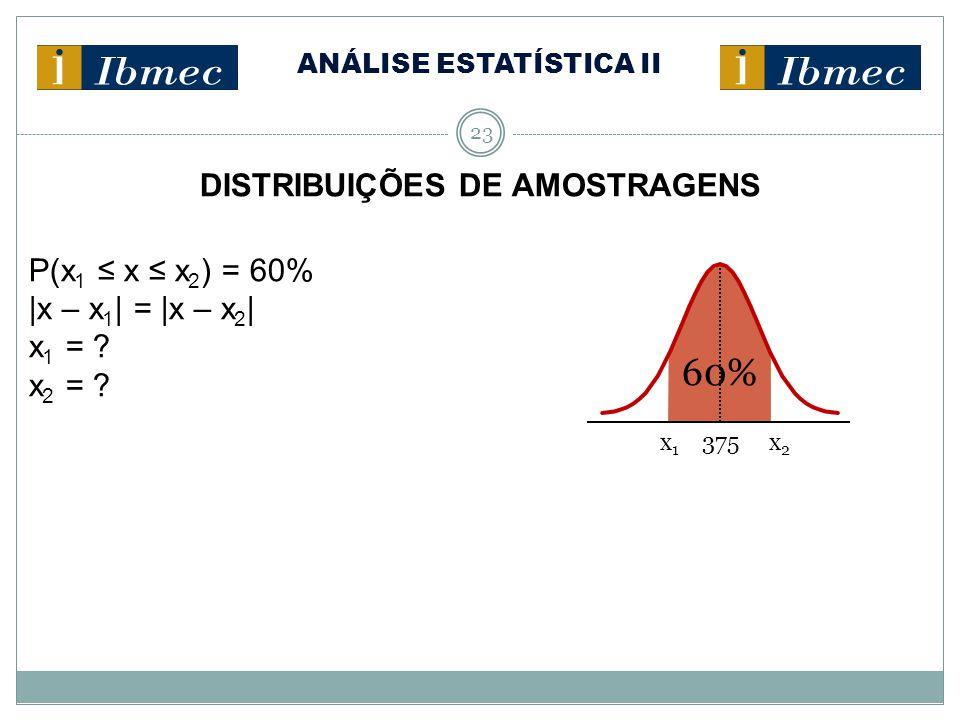 ANÁLISE ESTATÍSTICA II 23 DISTRIBUIÇÕES DE AMOSTRAGENS P(x 1 ≤ x ≤ x 2 ) = 60% |x – x 1 | = |x – x 2 | x 1 = ? x 2 = ? x 1 375 x 2 60%