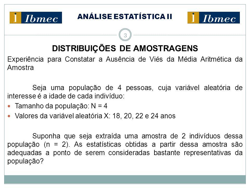 ANÁLISE ESTATÍSTICA II 4 DISTRIBUIÇÕES DE AMOSTRAGENS Na experiência, há 16 possíveis amostras (com reposição) de tamanho 2: