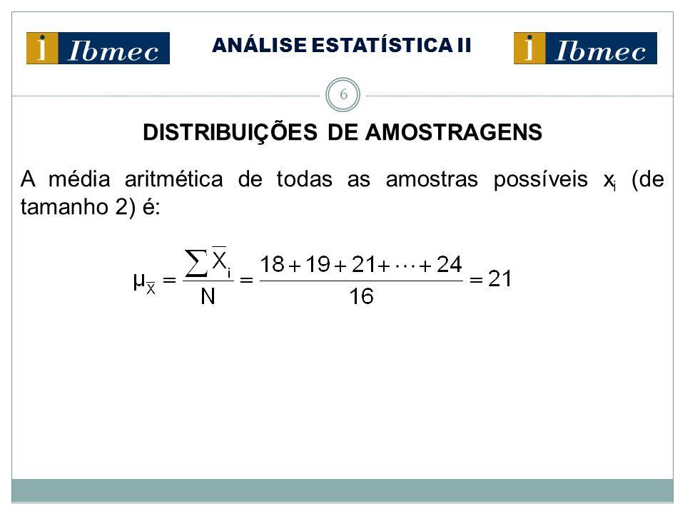 ANÁLISE ESTATÍSTICA II 6 DISTRIBUIÇÕES DE AMOSTRAGENS A média aritmética de todas as amostras possíveis x i (de tamanho 2) é: