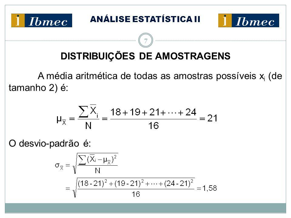ANÁLISE ESTATÍSTICA II 7 DISTRIBUIÇÕES DE AMOSTRAGENS A média aritmética de todas as amostras possíveis x i (de tamanho 2) é: O desvio-padrão é: