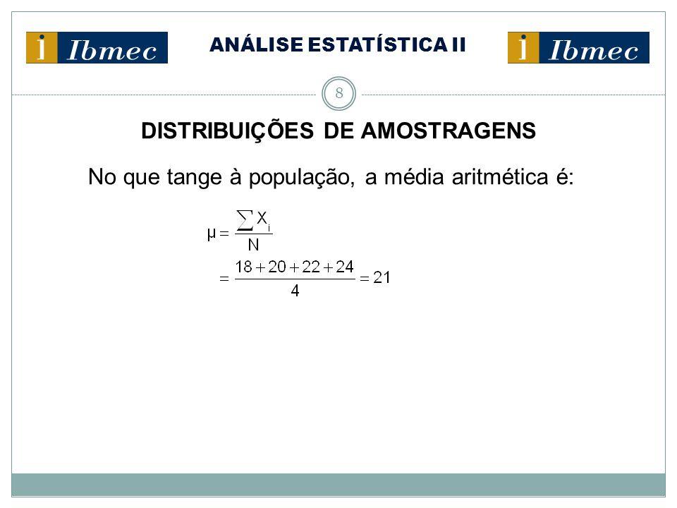 ANÁLISE ESTATÍSTICA II 8 DISTRIBUIÇÕES DE AMOSTRAGENS No que tange à população, a média aritmética é: